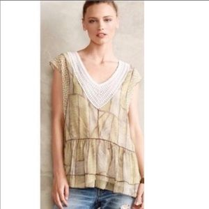 Anthropologie / One September Ivory Brown Tunic M